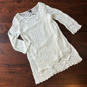 H&M Crochet Long Sleeve Dress w/Tank Dress Sz L